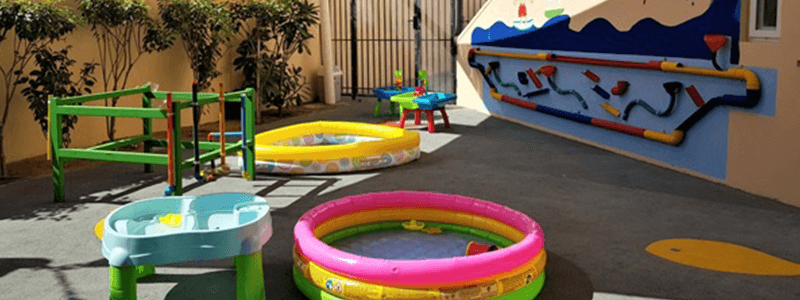 Water play at Step by Step Nursery in Dubai and Abu Dhabi