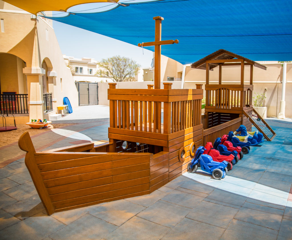 Wood boat play structure in Dubai and Abu Dhabi nursery step by step