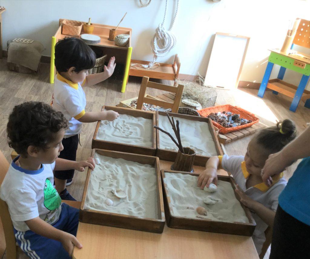 Sandbox play at the nursery